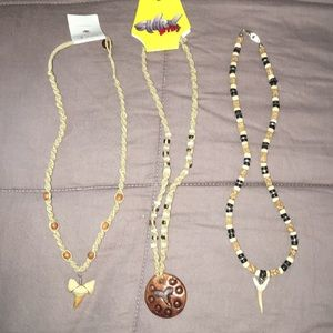 3 Genuine Shark Tooth Necklaces